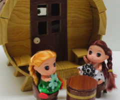 How to Make a Barrel Cardboard House for a Doll Camping – Art and Craft Ideas