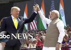 Thousands greet President Trump as he arrives in India