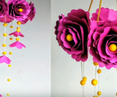 DIY Wind Chime with Beautiful Paper Roses Wall Hanging Paper Craft