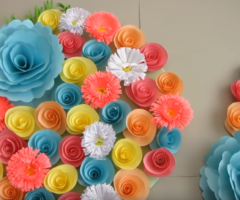 Simple Home Decor. Wall Decoration Door. Hanging Flower. Paper Craft Ideas