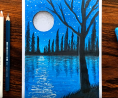 Easy Night Pond Scenery for beginners with Oil Pastels – step by step